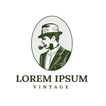 Logo de vieil homme avec cigarette cigare dans un style vintage