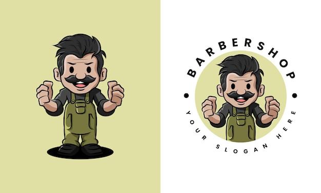 Logo de vieillard de salon de coiffure