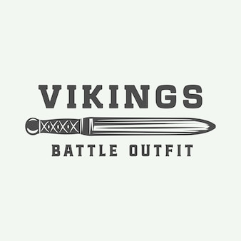 Logo vikings vintage, étiquette, emblème, insigne de style rétro avec citation. art graphique monochrome. illustration vectorielle.