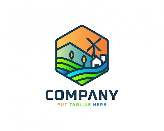 Logo de village de nature abstraite créative