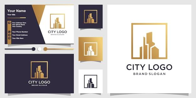 Logo de la ville avec concept doré et conception de carte de visite
