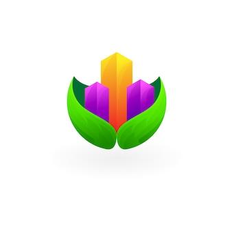 Logo de la ville et icônes de la nature du design des feuilles, style 3d