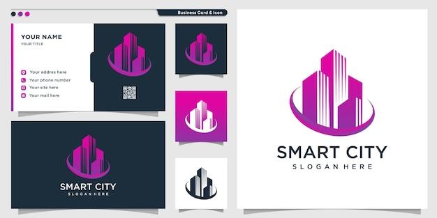 Logo de la ville intelligente avec un style créatif dégradé moderne et un modèle de conception de carte de visite vecteur premium