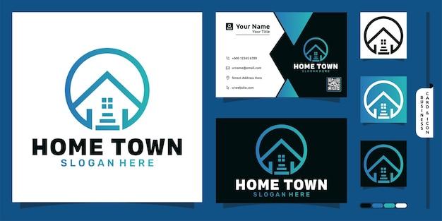 Logo de la ville natale avec concept moderne d'échelle et conception de carte de visite