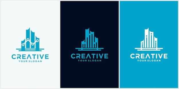 Logo de la ville technologique. symbole de modèle de conception de logo de technologie de construction, emblème, concept de conception, symbole créatif, icône
