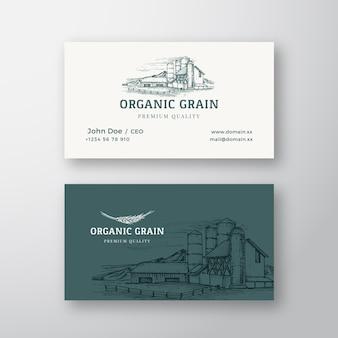 Logo vintage abstrait de paysage de ferme de grain biologique