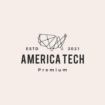 Logo vintage de l'amérique tech hipster polygonale géométrique