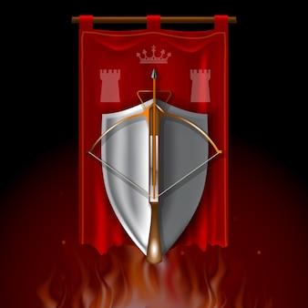 Logo vintage avec arbalète médiévale et bouclier sur la bannière rouge.
