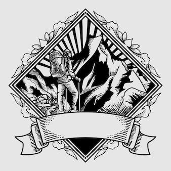 Logo vintage aventure dessinée à la main