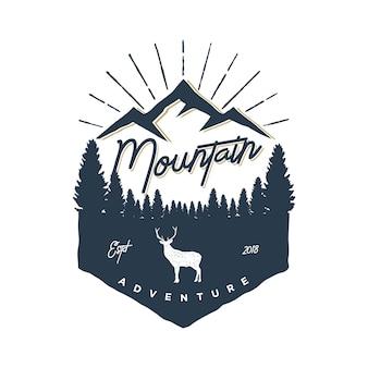 Logo vintage aventure en montagne