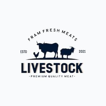 Logo vintage de bétail avec vache, poulet et chèvre
