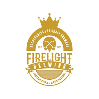 Logo vintage de brassage de couronne