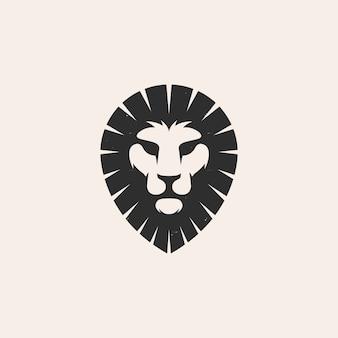 Logo vintage de broche tête de lion