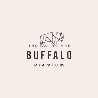 Logo vintage de buffalo bison hipster géométrique