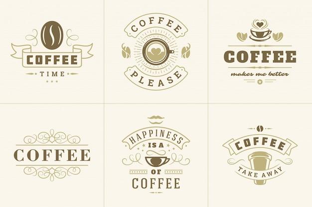 Logo vintage de café avec des citations