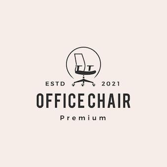 Logo vintage de chaise de bureau hipster