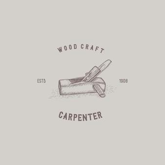 Logo vintage de charpentier en bois