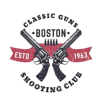 Logo vintage classic guns avec revolvers croisés