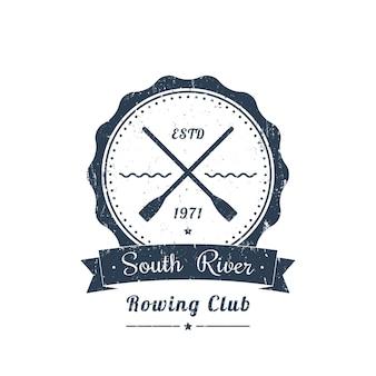 Logo Vintage De Club D'aviron Grunge, Emblème Vecteur Premium