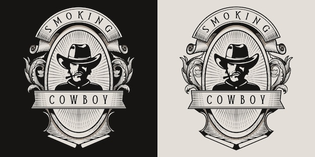 Logo vintage cowboy fumant