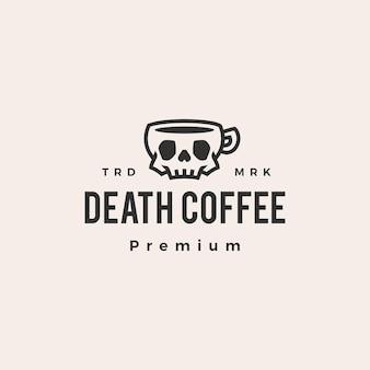 Logo vintage de crâne café hipster