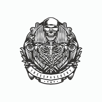 Logo vintage de crâne