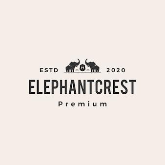 Logo vintage de crête d'éléphant