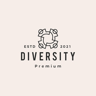 Logo vintage de diversité personnes équipe famille hipster