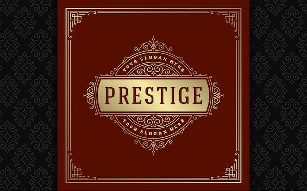 Logo Vintage élégant S'épanouit Dessin Au Trait Vecteur Premium