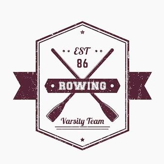 Logo vintage de l'équipe d'aviron, insigne.