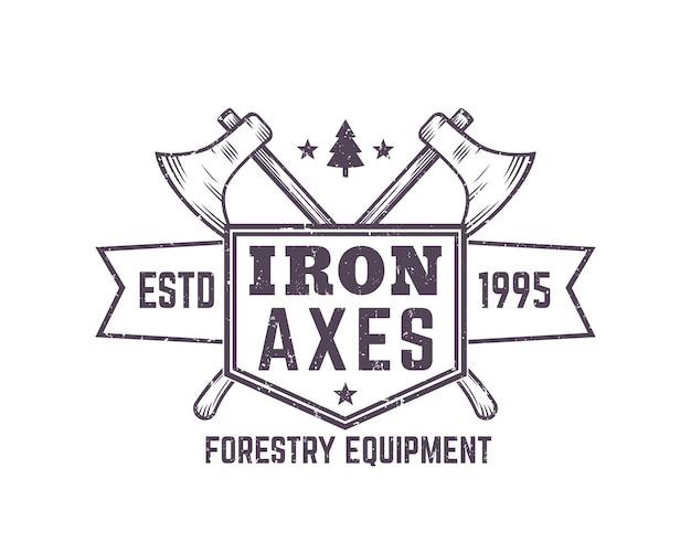 Logo vintage d'équipement forestier avec haches de bûcherons