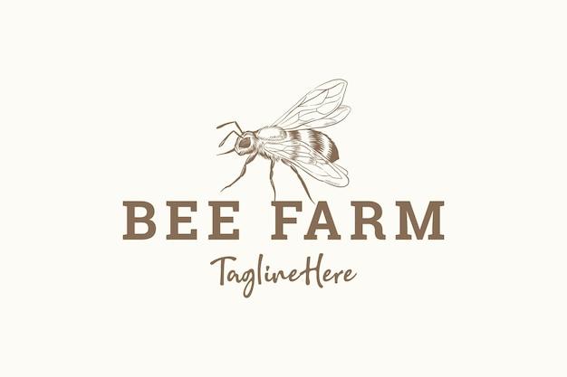 Logo vintage de ferme abeille dessiné à la main