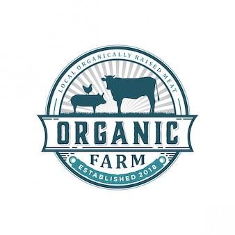 Logo vintage de ferme biologique