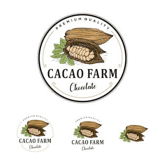 Logo vintage de la ferme de cacao