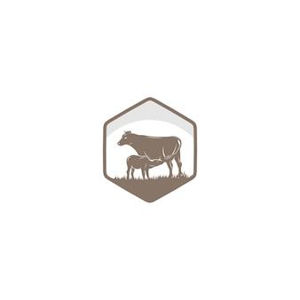 Logo vintage de ferme de vache
