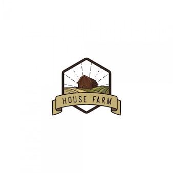 Logo vintage de fermier de maison