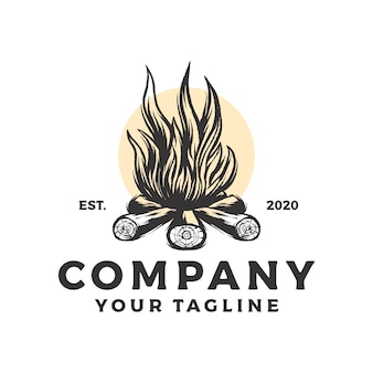 Logo vintage de feu de camp