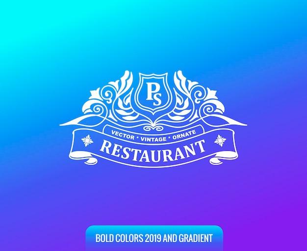 Logo vintage sur fond dégradé de couleur
