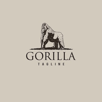Logo vintage de gorille avec dessin au trait dessiné à la main