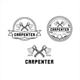 Logo vintage de hache de charpentier