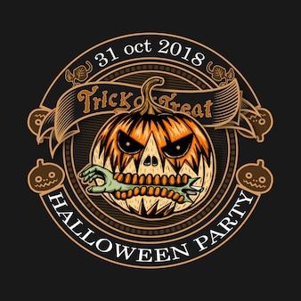 Logo vintage halloween sur fond noir