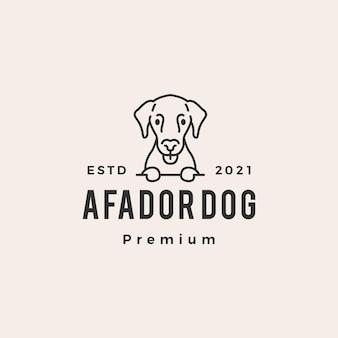 Logo vintage de hipster de chien afador