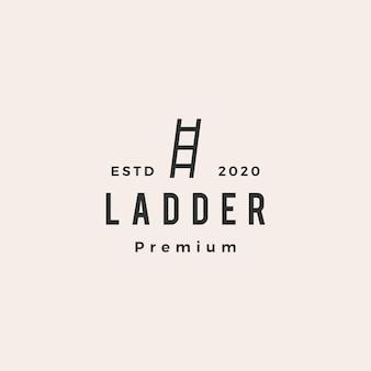 Logo vintage de hipster escaliers échelle