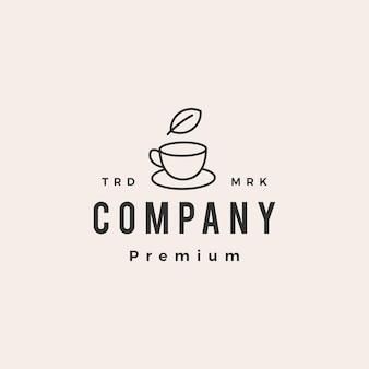 Logo vintage de hipster de feuille de tasse de thé