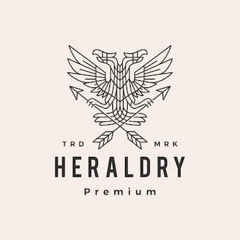 Logo vintage de hipster héraldique aigle bicéphale
