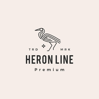 Logo vintage de hipster héron monoline