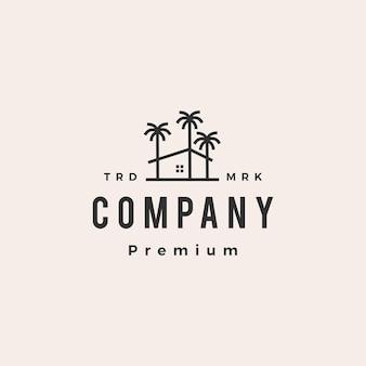 Logo vintage de hipster de noix de coco de maison de palmier