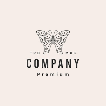 Logo vintage hipster papillon