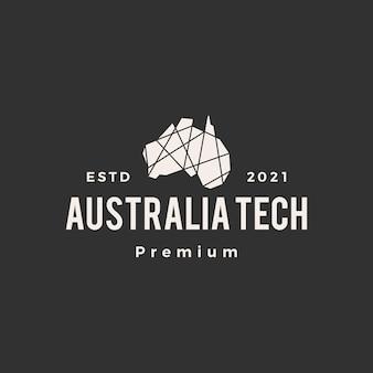 Logo vintage de hipster tech polygonale géométrique australie
