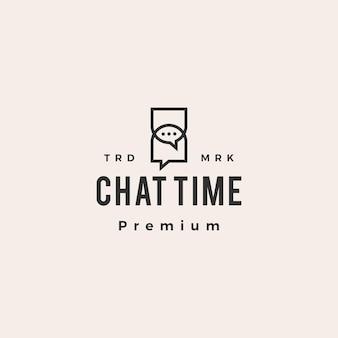 Logo vintage de hipster de temps de chat de sablier